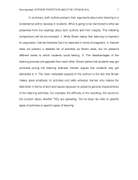comparative essay final edition 7 running head different perspectives about the listening skill