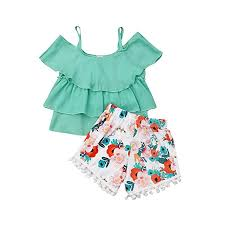 Amazon Com Baby Girls Tiffany Color Top Tassel Floral
