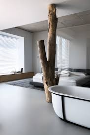 Tree Pillar Design Light And Laid Back Industrial Style Interior