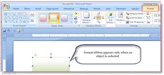word 2007 insert shapes microsoft word 2007 format tab
