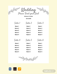 Seating Chart Wedding Free Printable Wedding Seating Chart Template Pdf Word