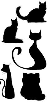 猫の無料シルエットaiepsの無料イラストレーター素材なら無料