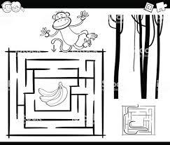 Doolhof Met Aap Kleurplaten Pagina Stockvectorkunst En Meer Beelden