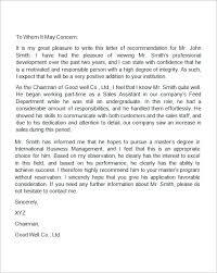 sample recommendation letter for a nursing position  cover letter  7 recommendation letters for employment doents details file format