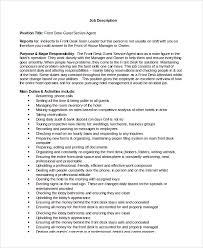 full time front desk agent sample job description