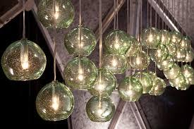 recycled glass lighting. Eco Globe Recycled Bottle Glass Pendants, Photo By Kenny Komer Lighting E