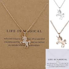 whole fashion jewelry unicorn pendant necklace short women clavicle chain gold silver animal necklace alloy pendants with gift card long necklaces fine