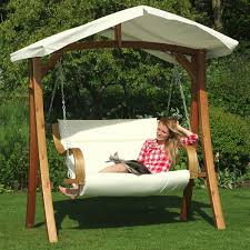 outdoor patio swings with canopy white mattress natural color metal