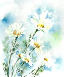 daisy flowers watercolor print fl watercolor painting wall art blue white