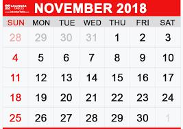 November Through November Calendars Printable November 2018 Calendar Calendar Table
