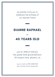Basic Invitation Template Simple Elegant Birthday Invitation Templates By Canva