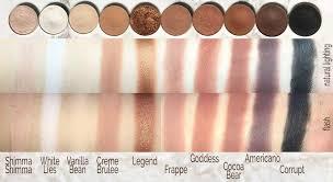 swatches of makeup geek eyeshadows shimma shimma white lies vanilla bean creme