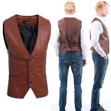 zogaa mens leather vest fashion joker blazer plus size suits casual vests single ted slim fit