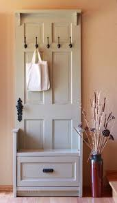 diy turn an old door into a super cute hall tree with a bench