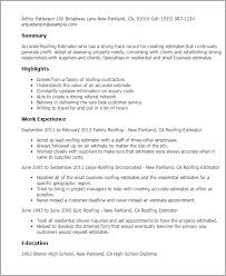 Resume Templates: Roofing Estimator