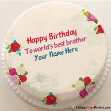 Beautiful Birthday Cake For Brother With Name Editing Generator