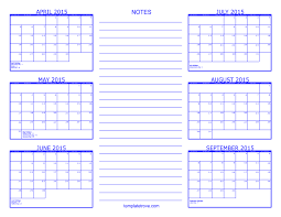 Calendars For June And July 2015 6 Month Calendar 2015