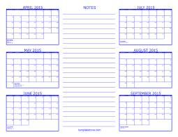 Template Monthly Calendar 2015 6 Month Calendar 2015