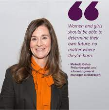 Millennium Technology Prize - Melinda Ann Gates is an American  philanthropist and a former general manager at Microsoft, the world's  largest computer software company. In 2000, she and her husband Bill Gates