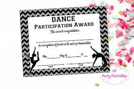 Dance Award Certificate Instant Download Dance Team Certificate Dance Award