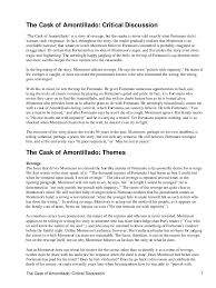critical analysis essay on the cask of amontillado the cask of amontillado analysis shmoop