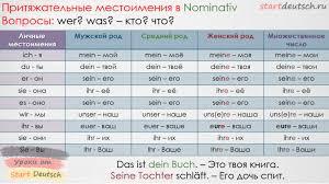 Притяжательные местоимения в немецком языке Немецкий язык онлайн  prityazhatelny mestoimeniya sklonenie