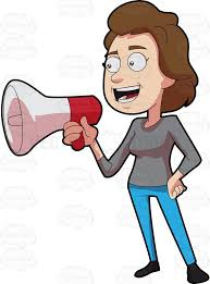 Image result for cartoon illustration of a woman calling in megaphone