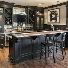 dark-colored basement bar with wine coolers