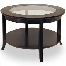 coffee table round wood winsome genoa round wood coffee table with glass top in dark espresso