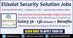 New Jobs New Jobs In Dubai 2019 In Esharah Etisalat Security