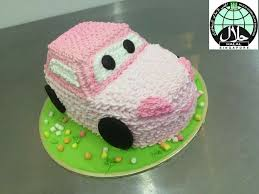 Customised Cute Pink Car Birthday Cake For Kids Food Drinks