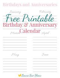 Birthday Anniversary Calendar Free Printable Birthday Anniversary Calendar Best Of