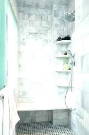 beveled subway tile shower surround marble shelves corner aging in place home renovations backsplash bathroom