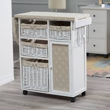 Deluxe Wood Wicker Ironing Board Center with Baskets | from hayneedle.com