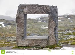 Rock Sculpture norwegian mountain foggy landscape with rock sculpture norway 1002 by xevi.us