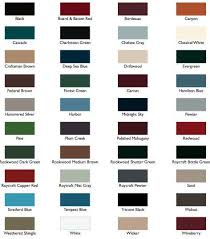 Mid America Color Chart Shutters Larson Shutters