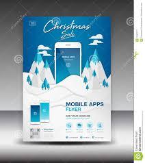 Mobile Landscape Design Mobile Apps Flyer Template On Winter Landscape Background