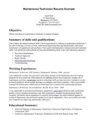 Hotel Maintenance Resume Objective Sample Job And Resume Template