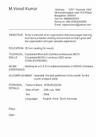 Resume Format For Call Center Job