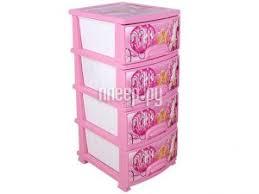 Купить <b>Комод Росспласт Золушка 4</b> яруса White-Pink по низкой ...