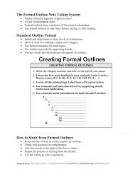 The Formal Outline Note Taking System Standard Outline Format