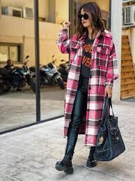Moda feminina longa xadrez casaco outono camisa casaco de lã casaco  streetwear roupas femininas solto casaco feminino casual jaqueta|Lã e  mistura| - AliExpress
