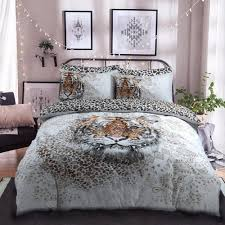 tiger panel animal design duvet set quilt cover pillowcase bedding double 275914