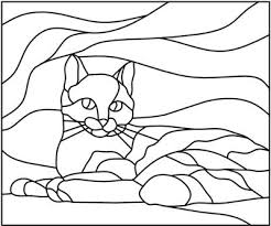 stained glass cat pattern