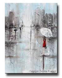 GICLEE PRINT Art Abstract Painting Girl White Umbrella Red Dress Grey Blue  City Rain Canvas -