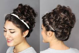 Second Day Curly Hairstyles Second Day Hair Holiday Updo Braided Headband Messy Curly Bun