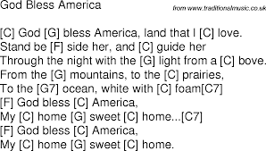 God Bless America Chord Chart Old Time Song Lyrics With Chords For God Bless America C In
