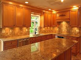 warm kitchen with honey oak cabinets