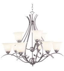 trans globe lighting 9289 bn ribbon branched 9 light 35 inch brushed nickel chandelier ceiling