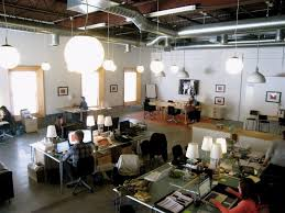 nice cool office layouts. love the lamps on desks and overhead lighting also nice open floor plan design studio officedesign cool office layouts